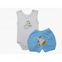 Conjunto Bebê Menino Body e Shorts Bordados Girafinha - Branco