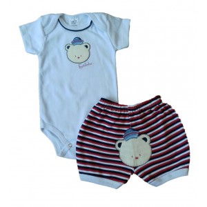 Conjunto Menino Body e Shorts Bordados Leão