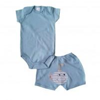 Conjunto Body Liso e Shorts Bordado Submarino - Azul Claro
