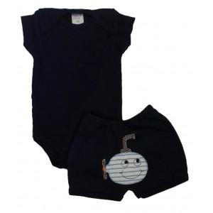 Conjunto Body Liso e Shorts Bordado Submarino - Azul Escuro