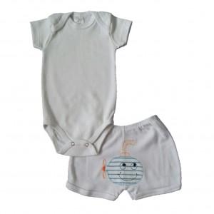 Conjunto Body Liso e Shorts Bordado Submarino - Branco