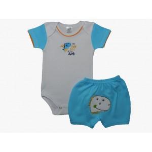 Conjunto Bebê Menino Body e Shorts Bordados Dino - Azul Claro
