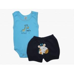 Roupa de Bebê Conjunto Body e Shorts Bordados Girafinha - Azul