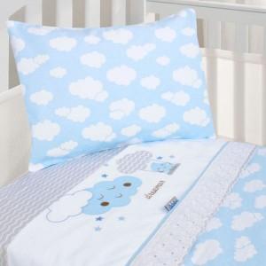 Jogo de Berço Padrão Americano MeninoEstampa Nuvem 3 Peças - Azul Bebê