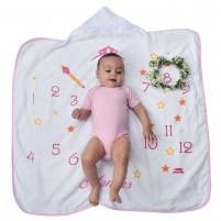 Toalha Infantil Felpuda Bebê com Capuz Mesversário Mini Herdeiros Menina