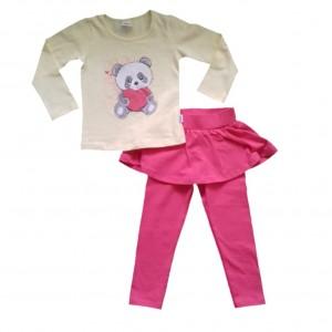 Conjunto Blusa e Legging com Sainha Infantil Menina Ursinho com Coração 1 a 3 anos