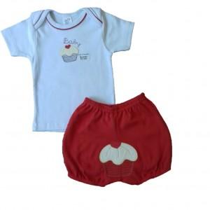 Conjunto Camiseta e Shorts Bordados Cupcake