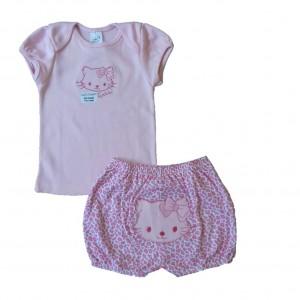 Conjunto Camiseta e Shorts Bordados Gatinha - Rosa