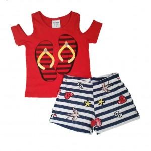 Conjunto Menina Bebê Camiseta e Shorts Chinelinho Verão - Vermelho