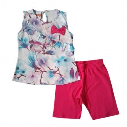 Conjunto Infantil Menina Shorts e Bata Regata Florida com Lacinho e Strass 1 a 3 anos