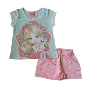 Conjunto Infantil Menina Shorts e Camiseta Jolie 1 a 3 anos