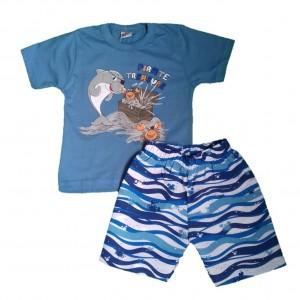 Conjunto Camiseta  e Shorts Tesouro do Pirata Tactel Menino